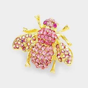 Pink Bee w/Gold Brooch